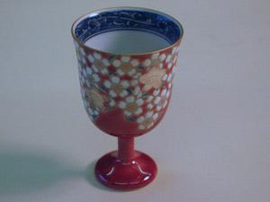 桜花紋ローズピンクワイングラス