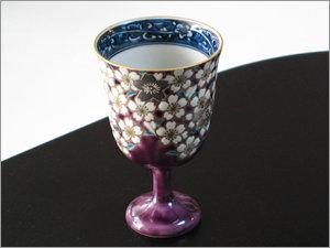 桜花紋紫ワイングラス