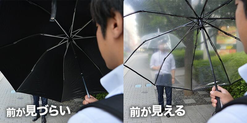 ビニール傘だから周りがよく見える