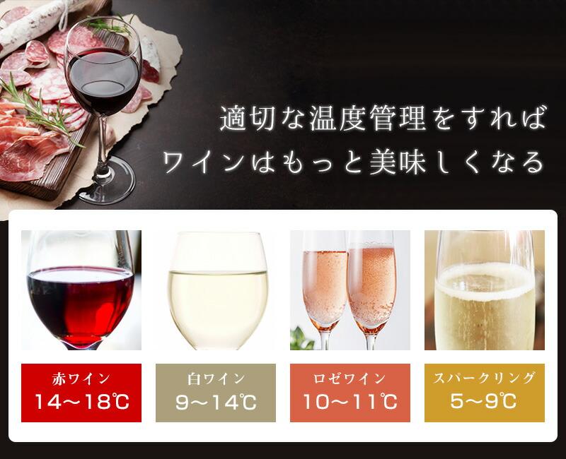 各ワインに応じた温度管理でいつでもおいしく!