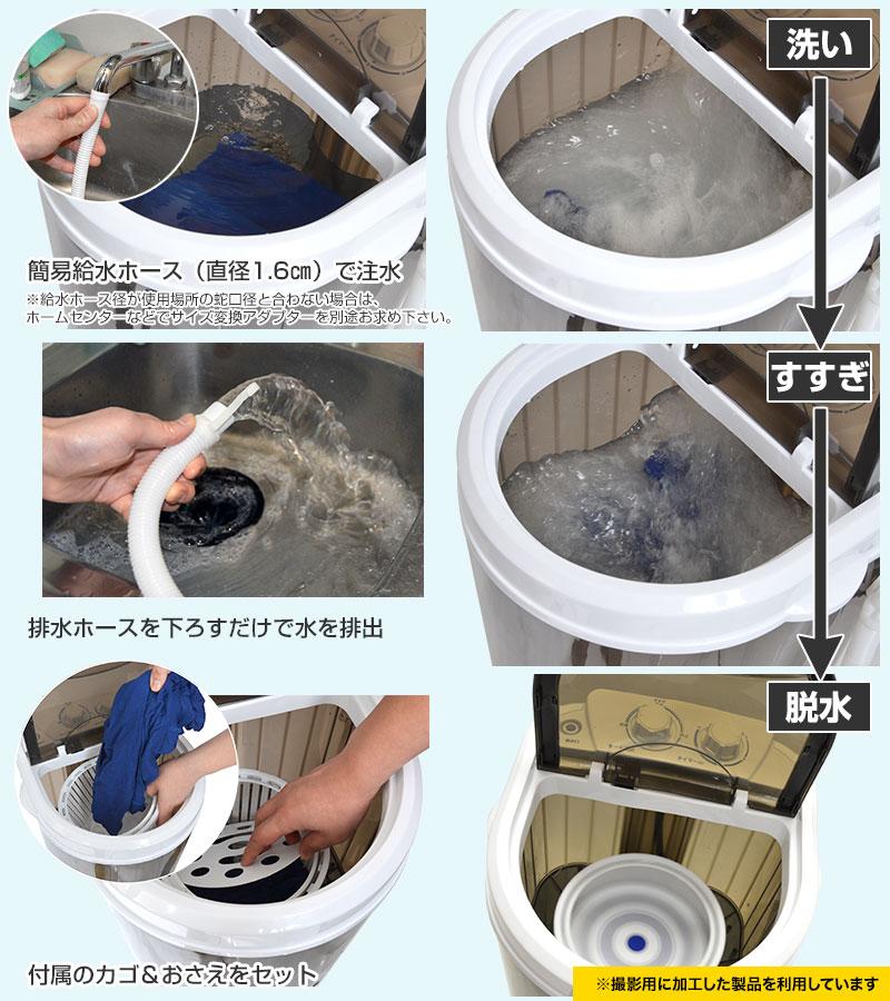 コンパクトだけど洗う、すすぐ、脱水