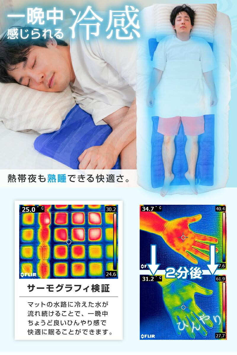 熱帯夜も一晩中熟睡 水が流れる冷感ひんやりマット S-WCM21B