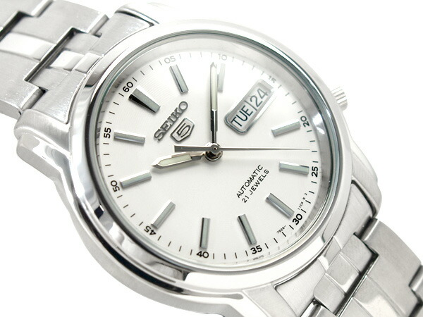 Seiko 5 Men S Automatic Self Winding Watch White Dial Stainless Steel Belt Snkl75k1