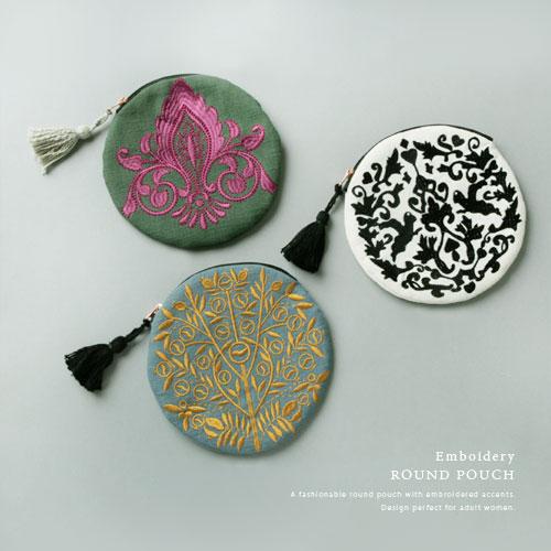 Embroidery 刺繍 ラウンド ポーチ コスメポーチ