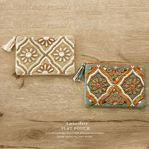 Embroidery ビーズ刺繍 フラットポーチ コスメポーチ