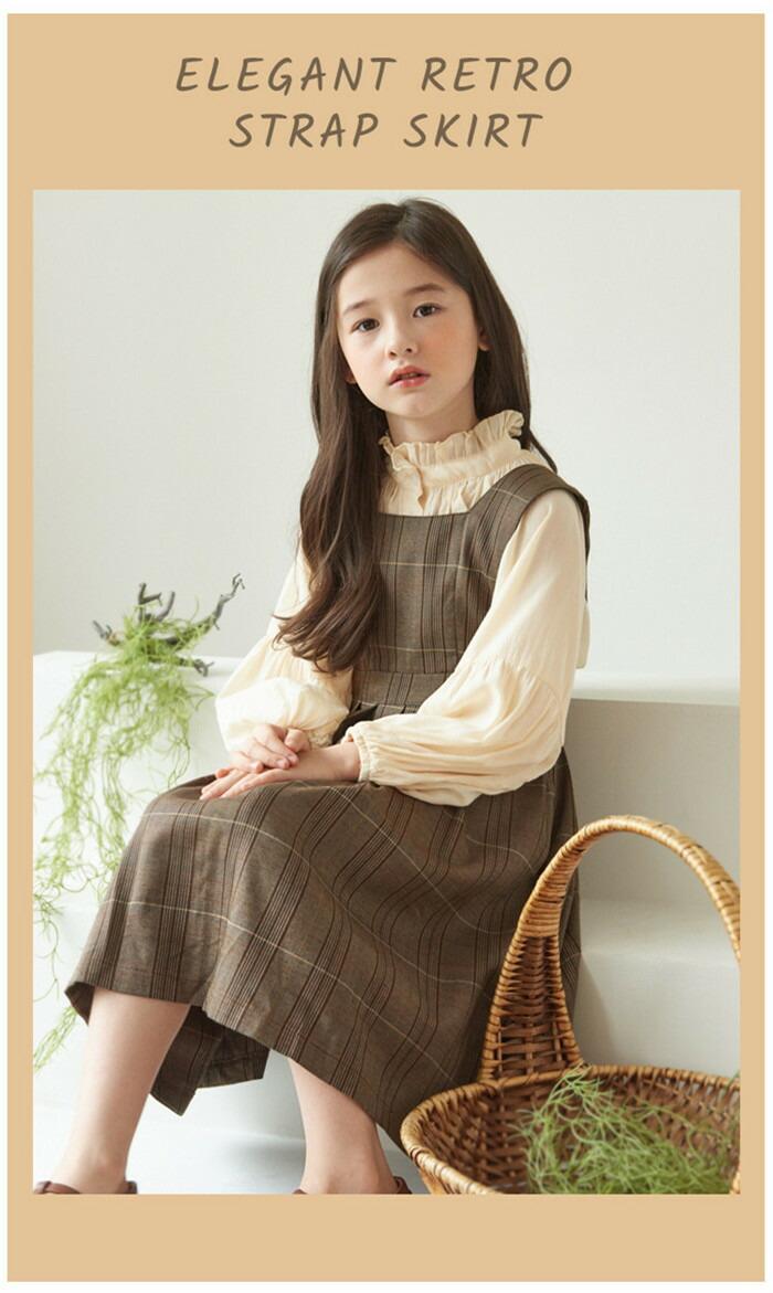 韓国子供服 森ガール 女の子 キッズ シャツ サロペットスカート セットアップ 春秋