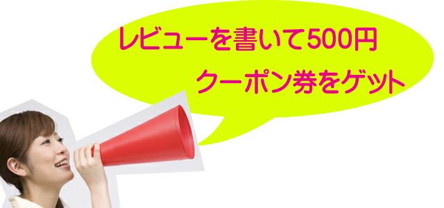 レビューを書いて500円クーポン