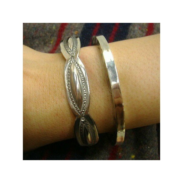 Silver Jewelry [Leaf Bangle Bracelet] 5