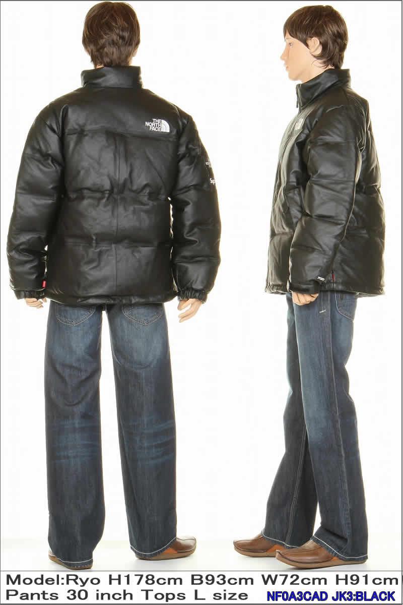 赤 The North Face Leather Nuptse Jacket Mサイズ★Supreme