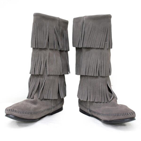 a411d1b35617 正規取扱店 MINNETONKA(ミネトンカ)Calf Hi 3-Layer Fringe Boot(カーフハイ3レイヤーフリンジブーツ)#1631T  GREY レディース MT052 最新モデ