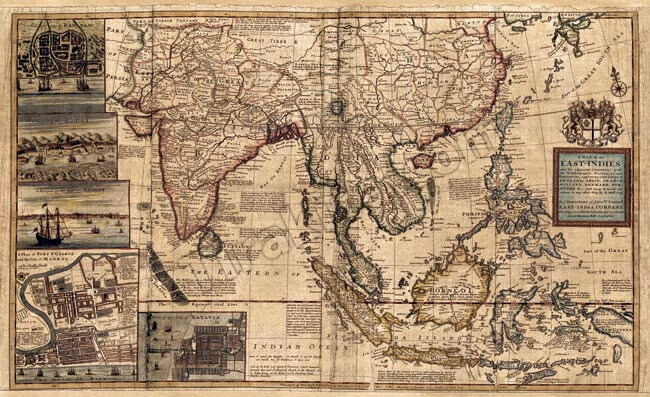 This antique map poster A MAP OF EAST INDIES / ancient map world map Indian  printed matter sticker postcard