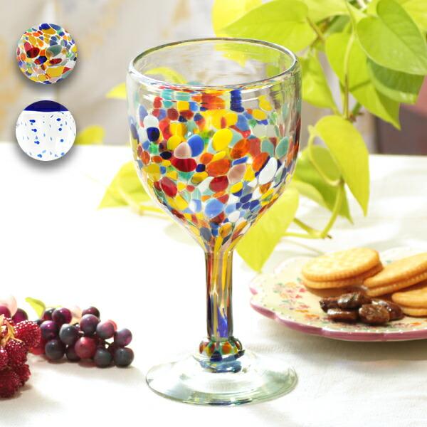 メキシコドット足付きグラス
