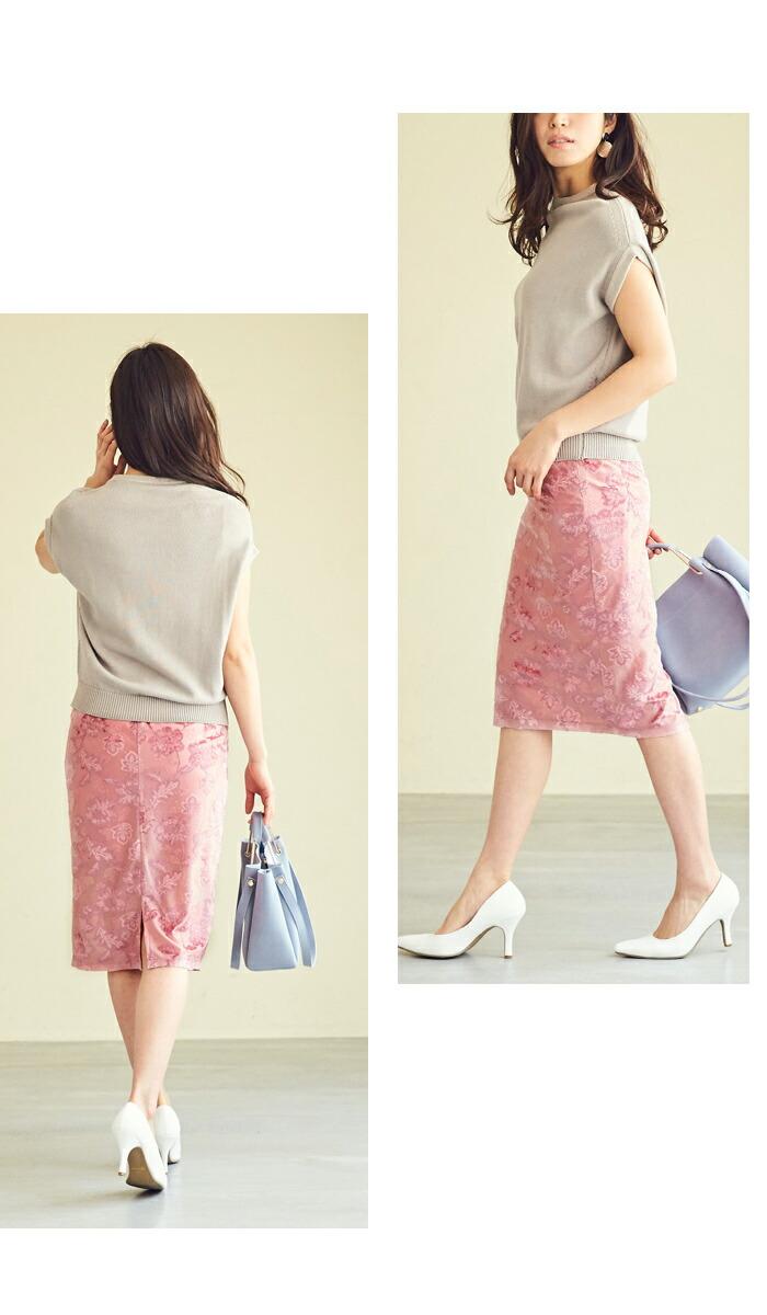 ジャガード風ベロアタイトスカート3