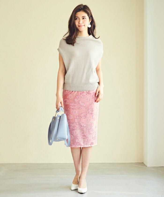 ジャガード風ベロアタイトスカート1