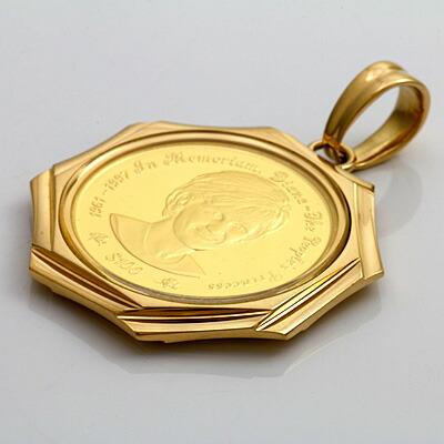 K18枠 コインペンダント ダイアナ妃(純金) 1997年製 1/5オンス ペンダントトップ(トップのみの販売です。チェーンは非付属)18金 24金