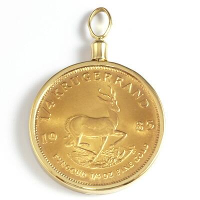 K18枠 コインペンダント 南アフリカ クルーガーランド(22金) 1985年製 1/4オンス ペンダントトップ(トップのみの販売です。チェーンは非付属)18金 22金