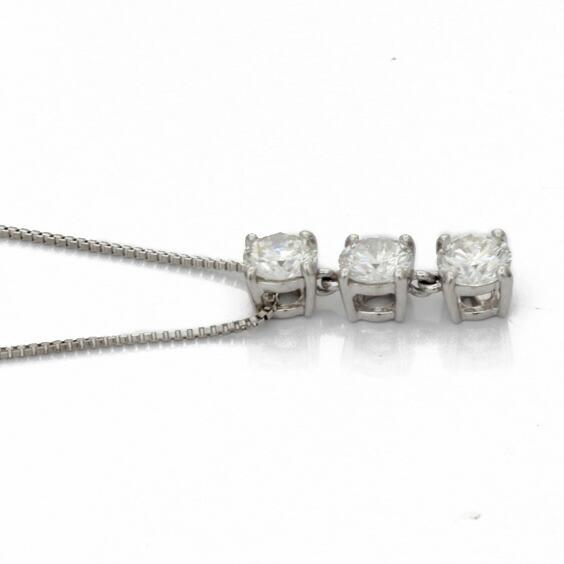 ネックレス PT850 PT900 ダイヤモンド D0.680 3連 スリーストーン ベネチアンチェーン 鑑定書付き プラチナ