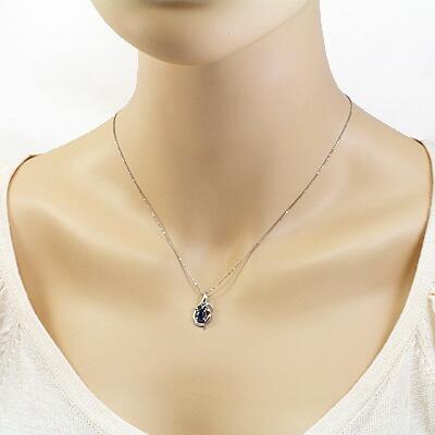 【中古】◎K18WG ダイヤモンドネックレス D0.06 サファイヤ 18金ホワイトゴールド