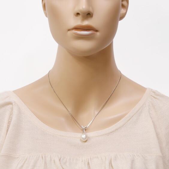 ネックレス K18WG パール 真珠 ダイヤモンド D0.11 大粒 ベネチアンチェーン スライド 18金ホワイトゴールド 18K フォーマル 結婚式 入学式 卒業式