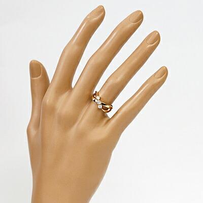 K18PG ダイヤモンド リング D0.30 指輪 エックス 18金 ピンクゴールド