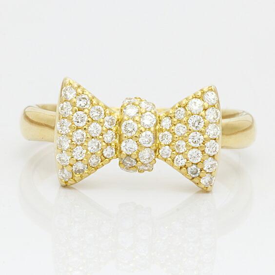 ○K18 ダイヤモンド リング D0.35 リボン 13.5号 18金 ゴールド18K