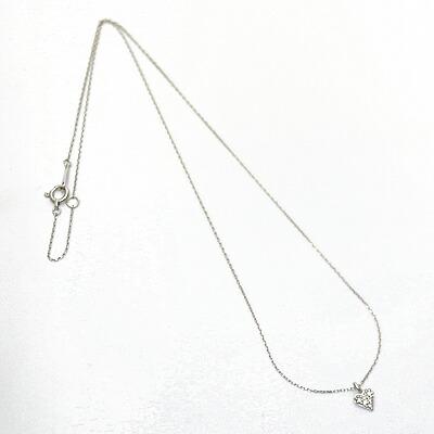 K18WG ダイヤモンド ネックレス D0.04 ハート パヴェ 18金 ホワイトゴールド
