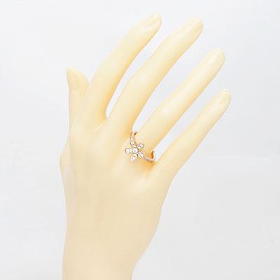 ○K18PG ダイヤモンドリング D0.34 フラワー 18金ピンクゴールド