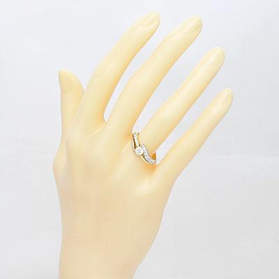 ○K18/PT900 ダイヤモンドリング D0.30/D0.23 18金 プラチナ