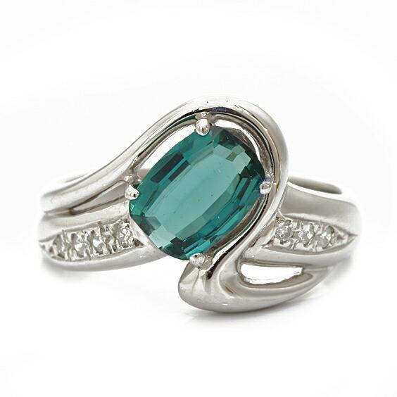 PT900 リング 指輪 トルマリン ダイヤモンド D0.07 11号 プラチナ
