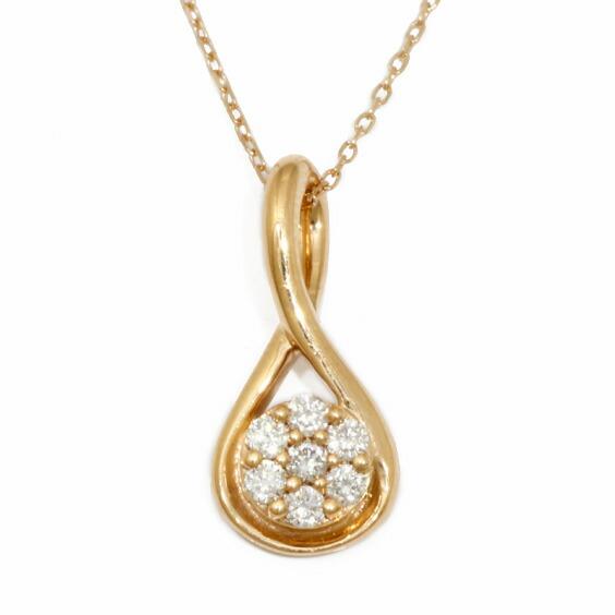 ネックレス K18PG ダイヤモンド D0.10 花 フラワー 18金 ピンクゴールド 18K