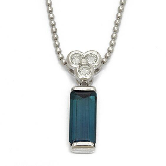 PT900 PT850 ネックレス ダイヤモンド D0.18 トルマリン プラチナ