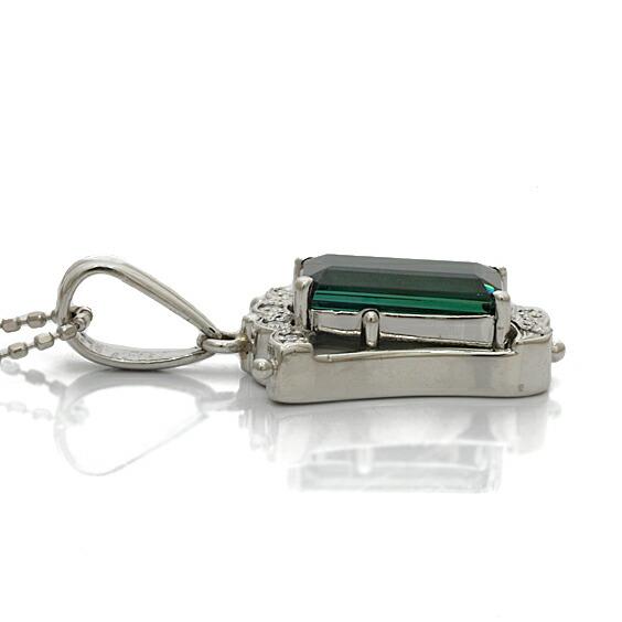 ○K18WG PT900 ダイヤモンド ネックレス D0.037 トルマリン 18金 ホワイトゴールド プラチナ