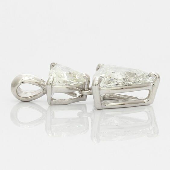 ○K18WG ダイヤモンド ペンダントトップ D1.003 D0.300 トリリアント 鑑別書 (トップのみの販売です。チェーンは非付属) 18金 ホワイトゴールド
