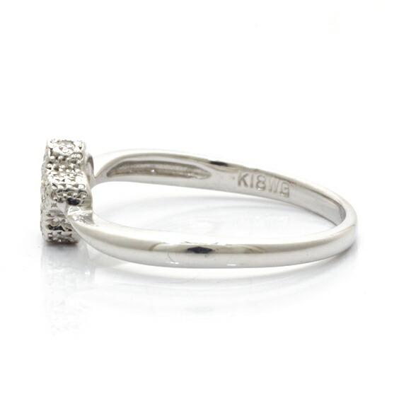 K18WG リング 指輪 ダイヤモンド D0.09 星 スター 18金 ホワイトゴールド