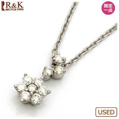 PT850 ダイヤモンドネックレス D0.20 花 フラワー プラチナ