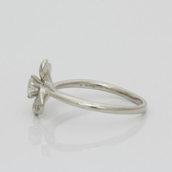 PT900 ダイヤモンドリング 指輪 D0.23 ハート リボン 13.5号 ダイヤ プラチナ