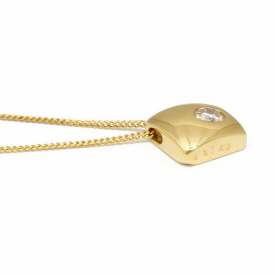 ネックレス K18 ダイヤモンド D0.07 四角 スクエア 一粒 喜平 キヘイチェーン 18金 ゴールド 18K