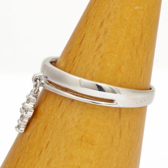 リング 指輪 K18WG ダイヤモンド D0.06 十字架 クロス 10号 18金ホワイトゴールド 18K