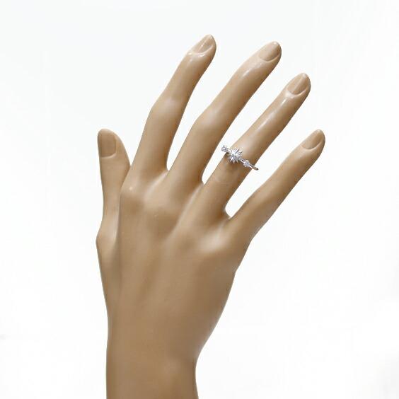 K18WG リング 指輪 ダイヤモンド D0.13 7号 星 スター 18金 ホワイトゴールド 18K