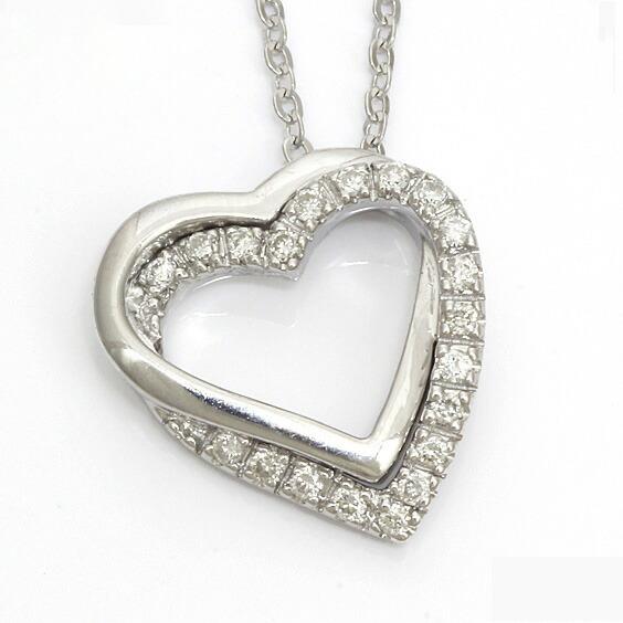 K18WG ネックレス ダイヤモンド ハート 18金 ホワイトゴールド