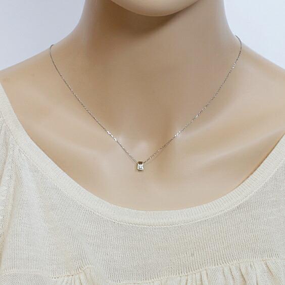 PT850 ネックレス ダイヤモンド 一粒 シンプル 定番 プラチナ
