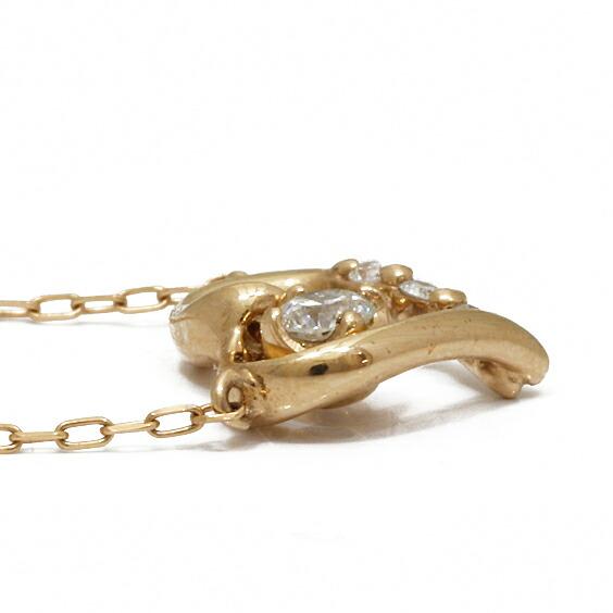K18PG デザインネックレス ダイヤモンド オプーンハート 18K 18金 ピンクゴールド