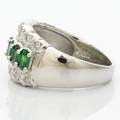 ○PT900 ダイヤモンドリング D0.15 グリーンガーネット プラチナ