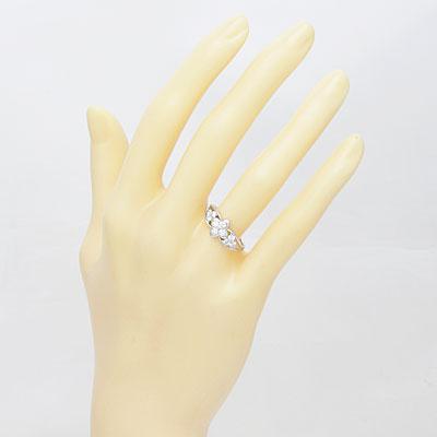 ◎PT900 ダイヤモンドリング D0.50 フラワー プラチナ
