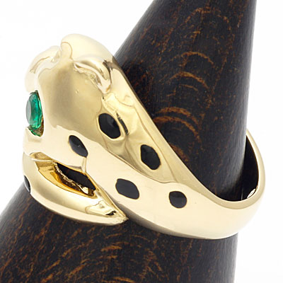 ●K18 リング ダイヤモンド エメラルド 豹 18金