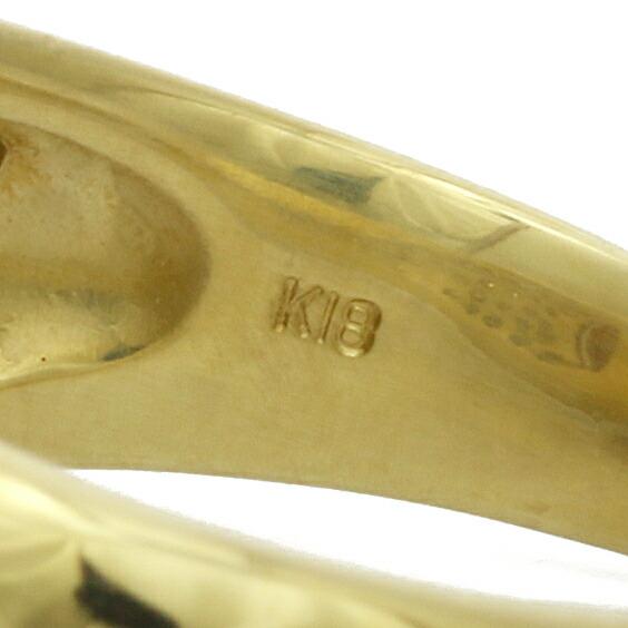 ●K18 ダイヤモンドリング パール 12 D0.70 14号 18金 ゴールド 18K