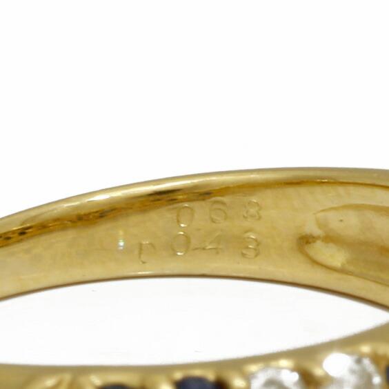K18 リング 指輪 サファイア ダイヤモンド S0.68 D0.43 18金 花 フラワー 18K