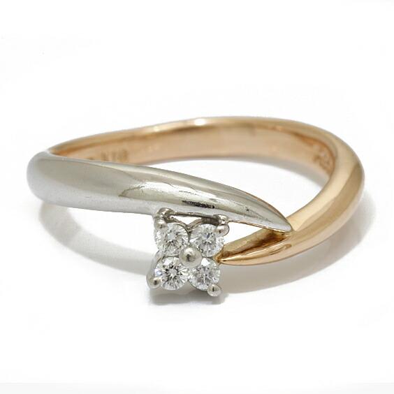 PT950 K18 ピンキーリング 指輪 ダイヤモンド 2カラー フラワー 4号 プラチナ 18金 ゴールド 18K