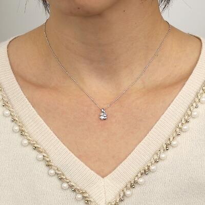 K18WG ネックレス アクアマリン ダイヤモンド D0.03 クローバー 18金