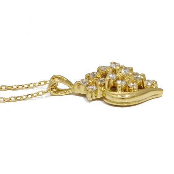 ネックレス K18 ダイヤモンド 豪華 小豆 アズキチェーン 18金 ゴールド 18K